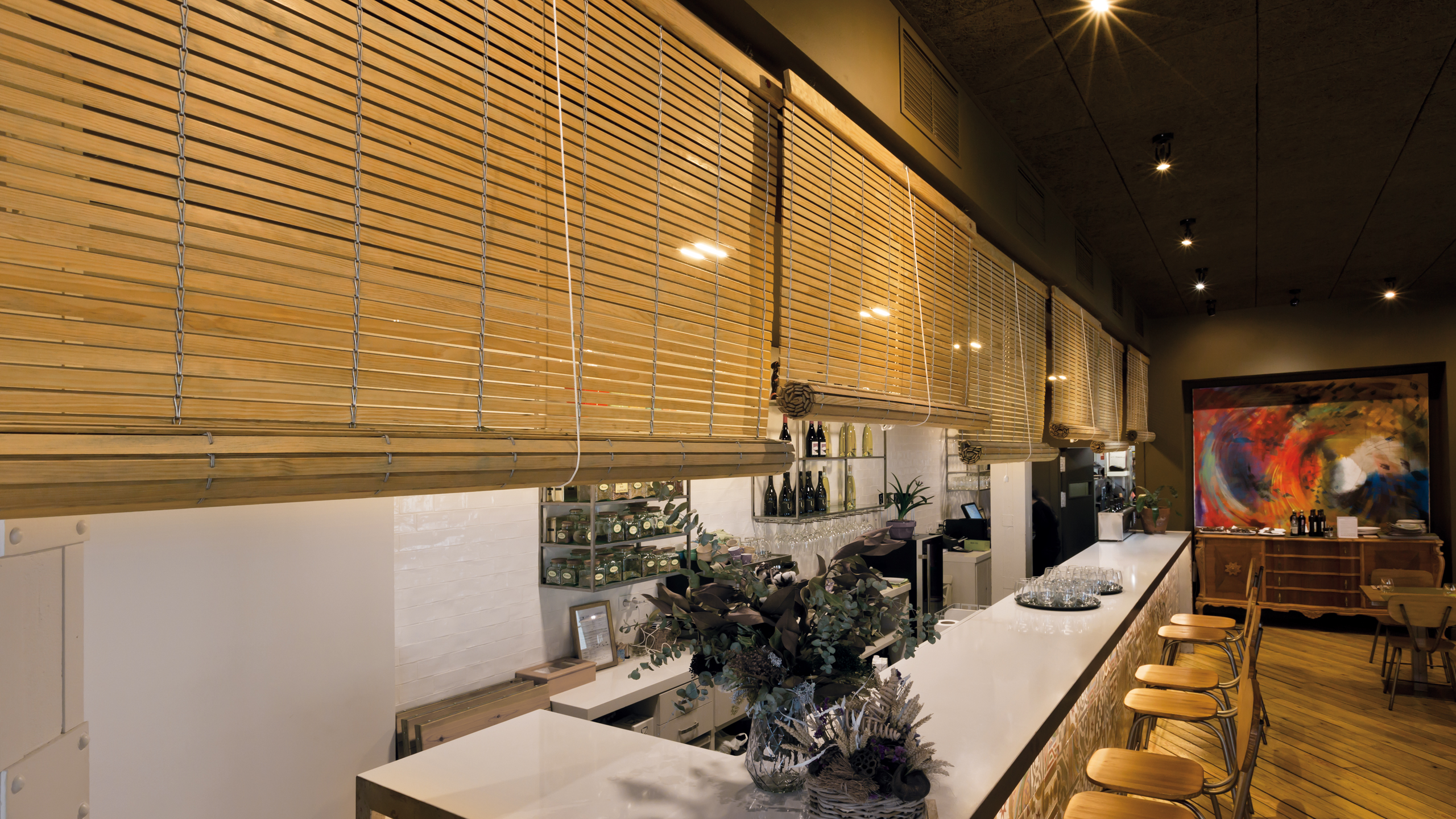 Alicantina shutters installed in a stylish city-centre restaurant